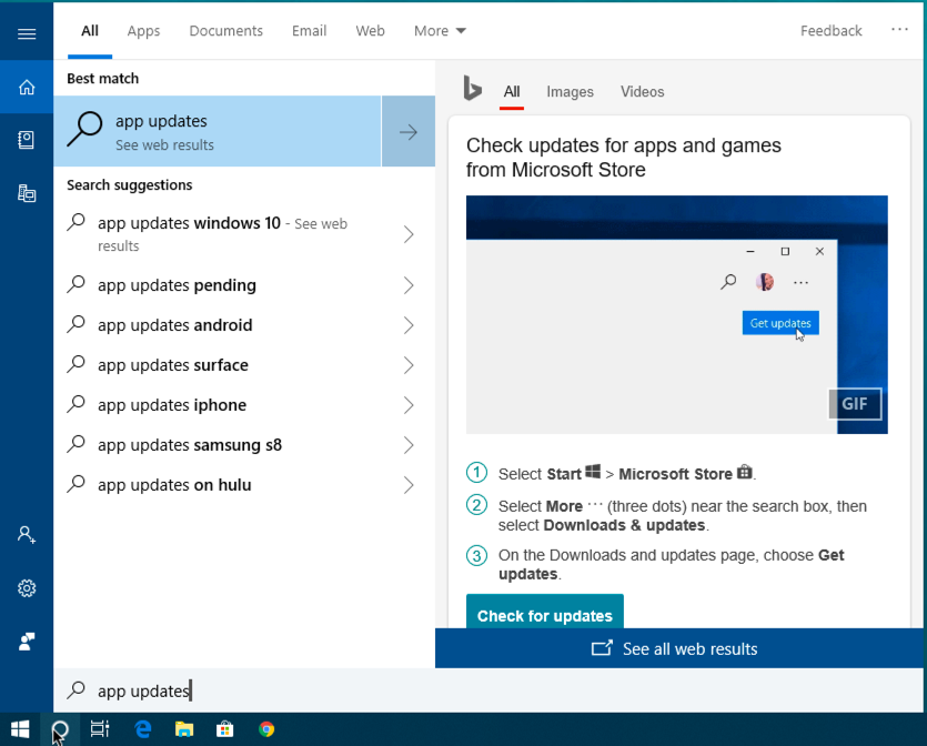 win10 cortana search 'app updates'