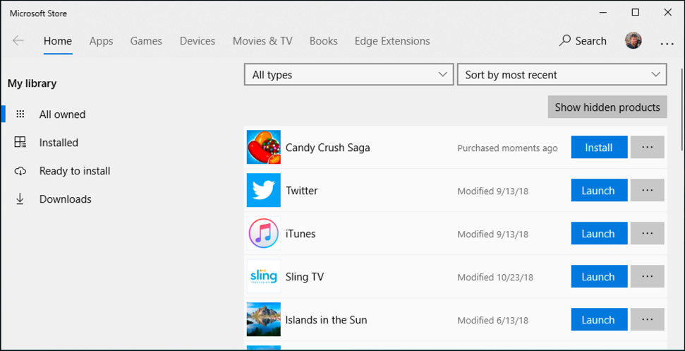 microsoft store - all owned apps