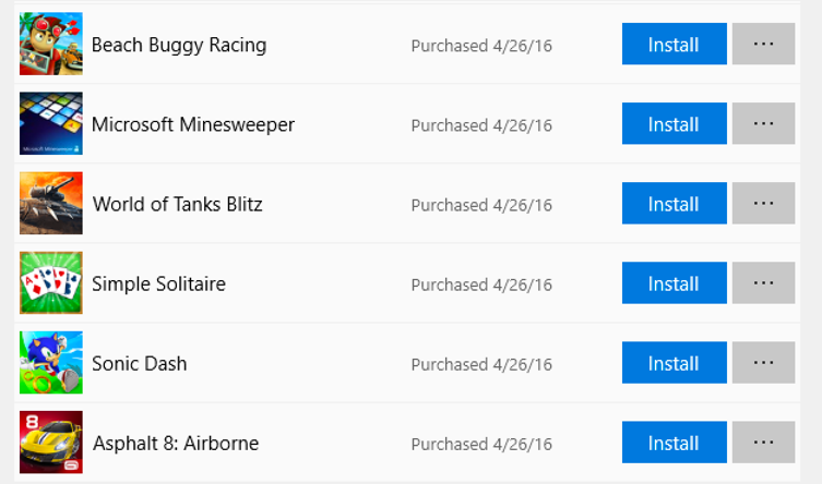microsoft store - all programs purchases - games