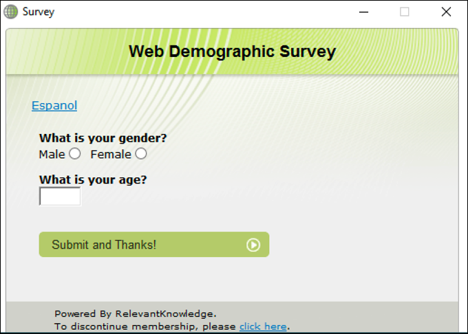 relevantknowledge survey popup adware malware spyware