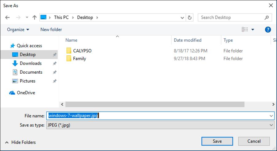 file save dialog window - win10