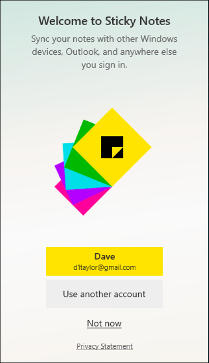 sticky notes - win10 - log in to outlook.com