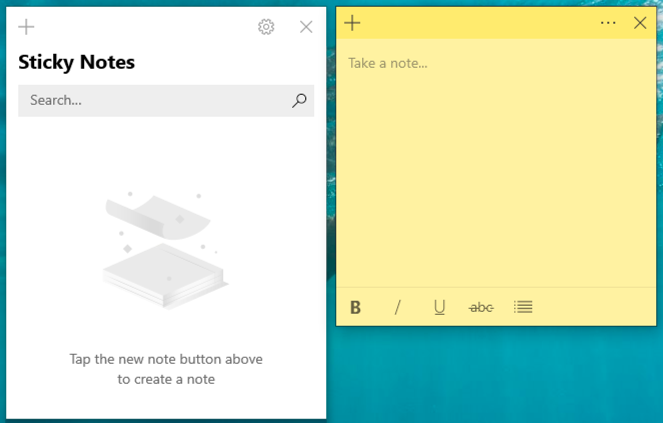 win10 sticky notes - new note, ready to sync