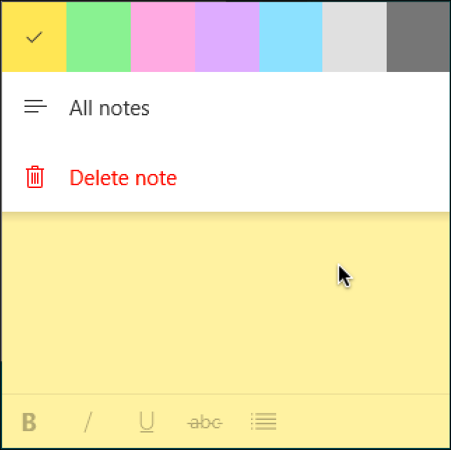 windows sticky note color options