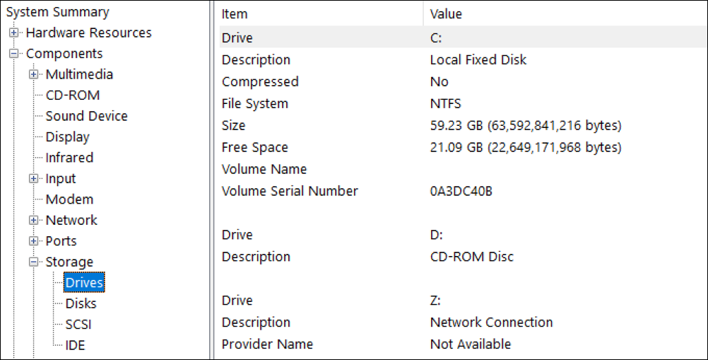 win10 system info - disk space storage