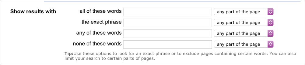 yahoo advanced search form box 1