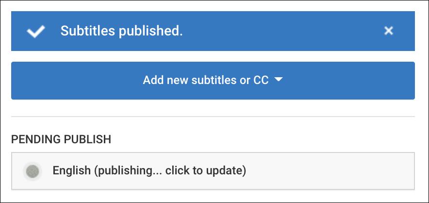 publishing subtitles youtube