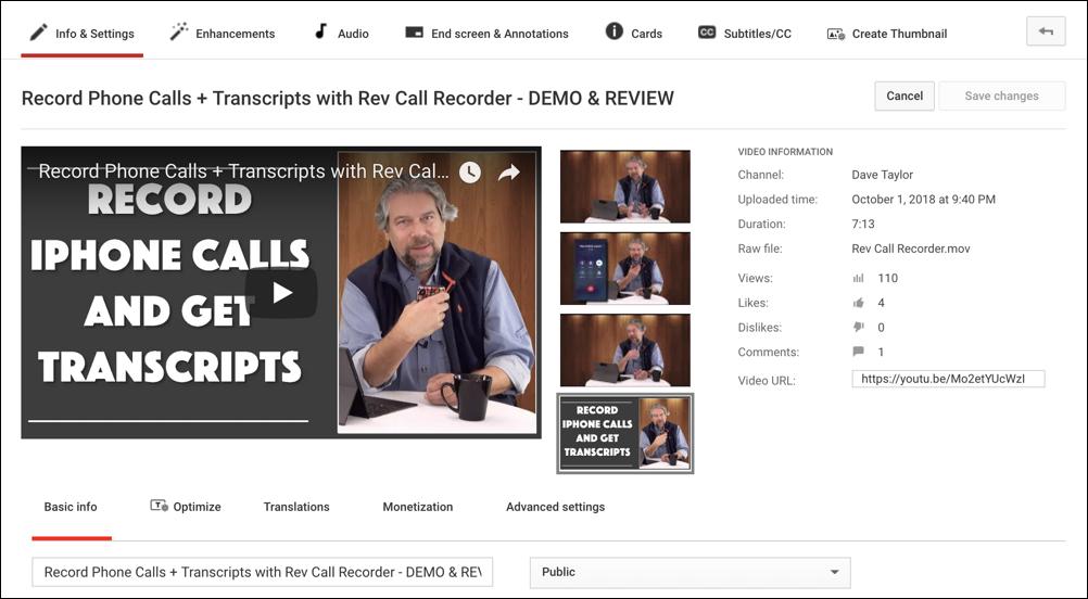 youtube video editor main window