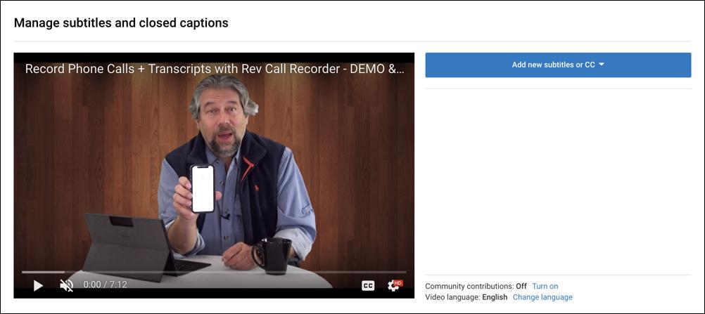 youtube video - subtitles/cc area