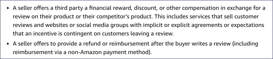 don't pay for reviews or compensate reviewers - amazon seller central