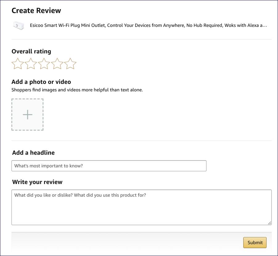 enter an amazon review