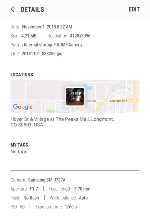 android galaxy j7 - gallery photo geolocation gps details info