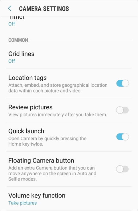 disable location tags, android camera