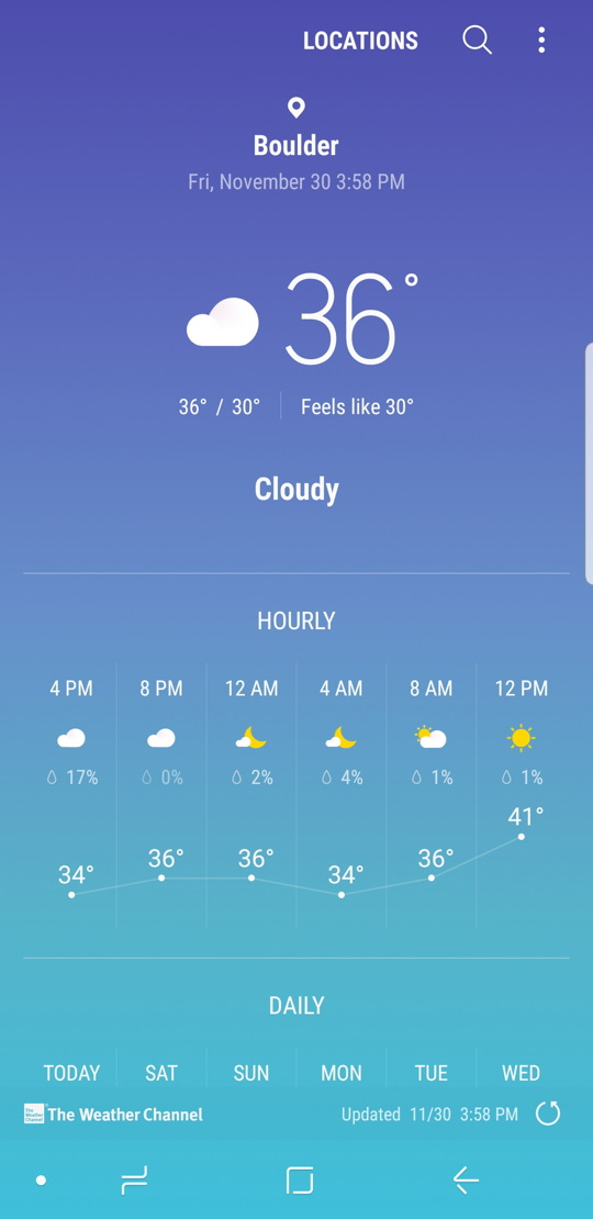 android - boulder co weather