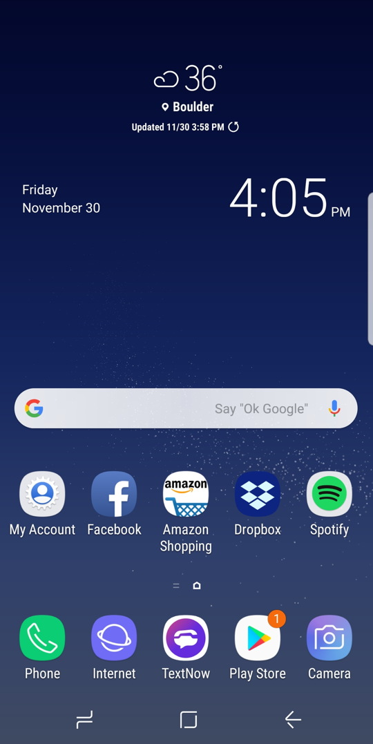 android - samsung galaxy s8 - experience - home screen weather clock time
