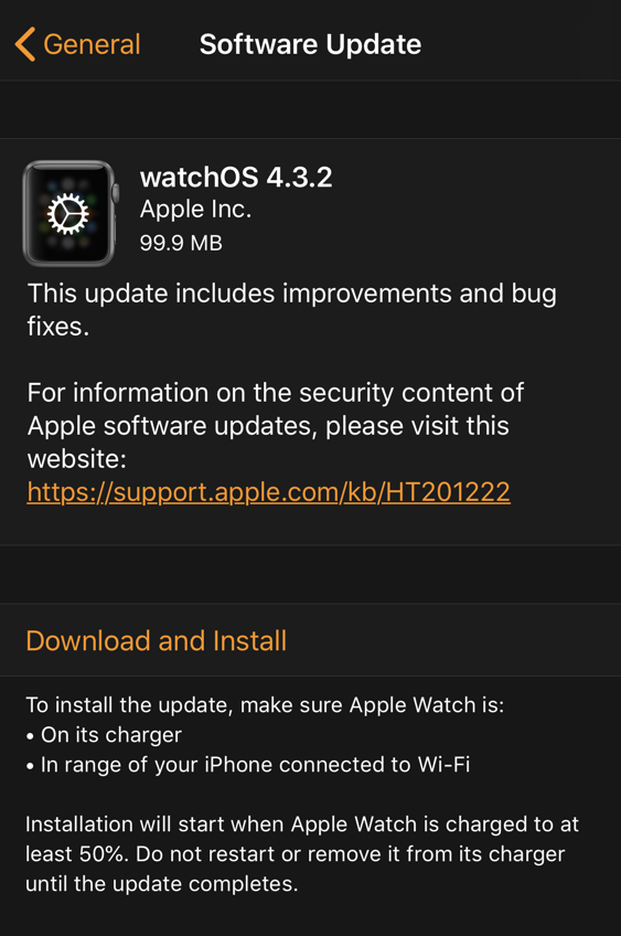 new update version watchos apple watch