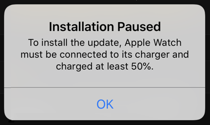 watchos update installation paused