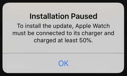 watchos update installation paused