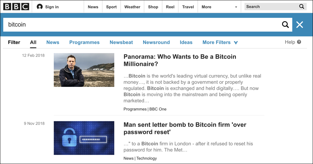 bbc search results - bitcoin