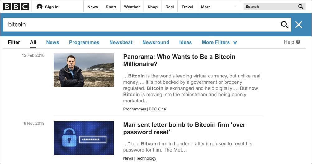 bbc search results - bitcoin
