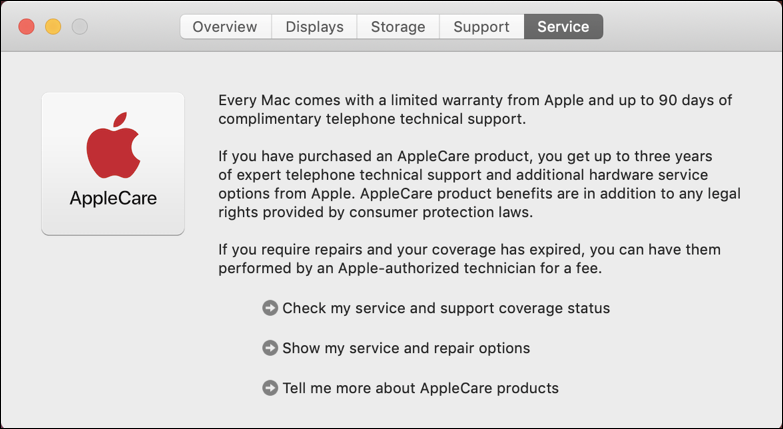 mac about this mac service info