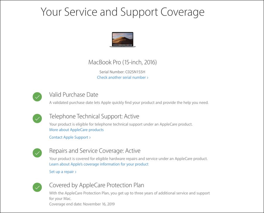 applecare warranty status coverage