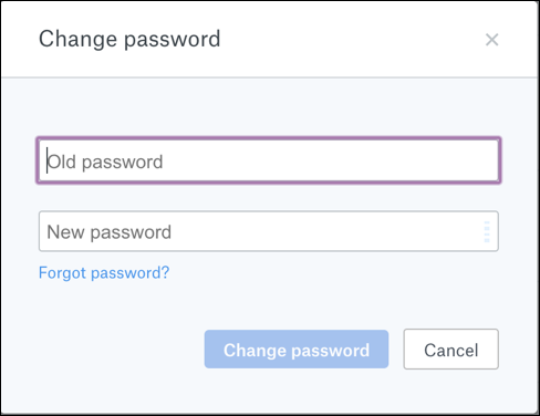 change dropbox password