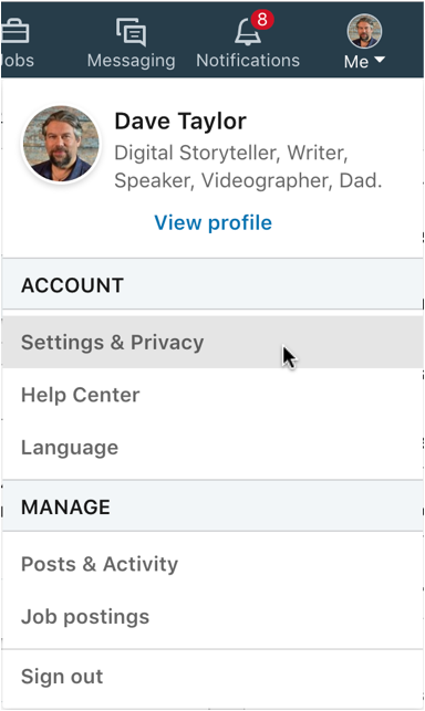 linkedin main menu - settings and privacy
