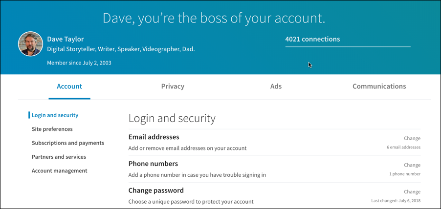 linkedin settings & privacy