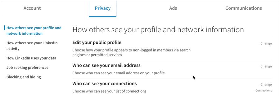 linkedin privacy settings preferences