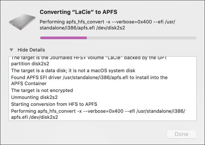 disk utility converting lacie external drive to apfs