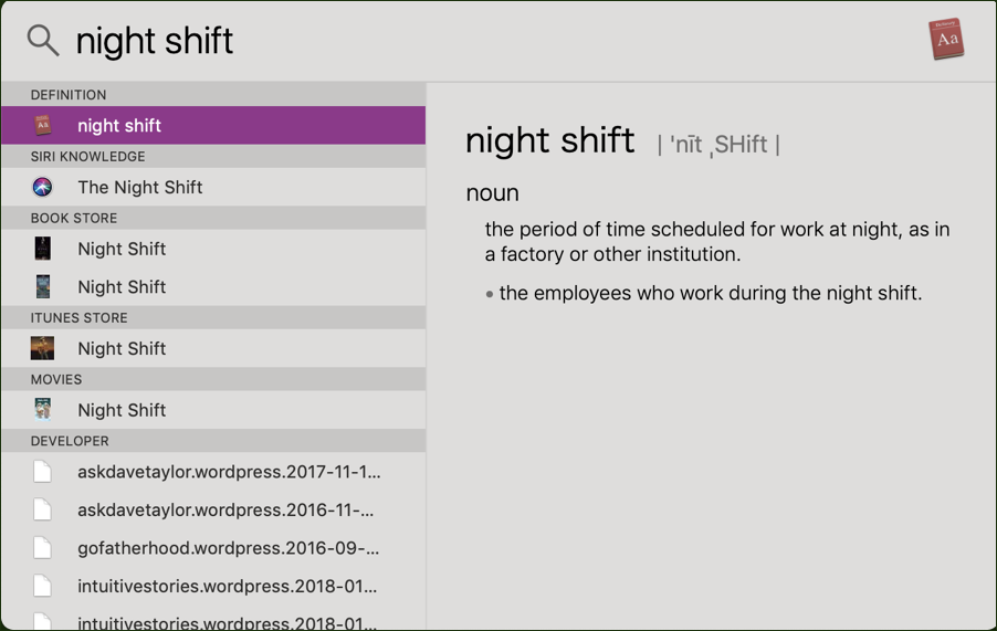 night shift in spotlight, mac macos x