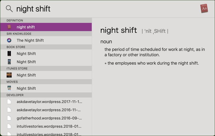 night shift in spotlight, mac macos x