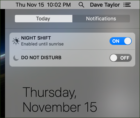 night shift / do not disturb shortcuts mac macos x