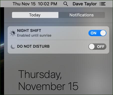 night shift / do not disturb shortcuts mac macos x