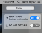 quick disable night shift mac macos x