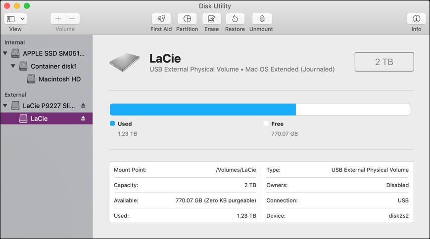 mac disk utility - external drive