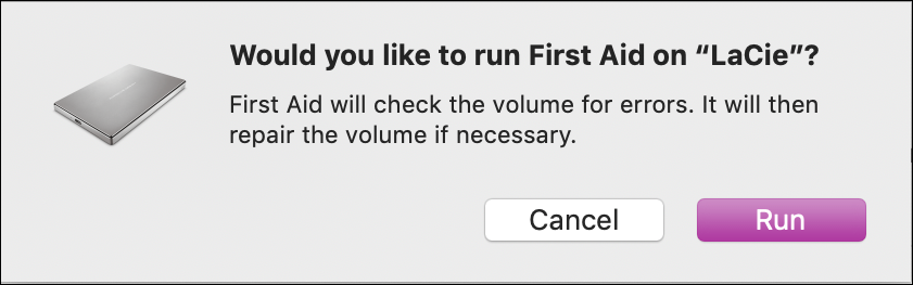 run first aid on disk macos mac