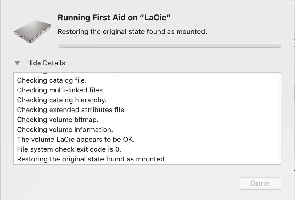 disk utility mac macos x - progress window first aid