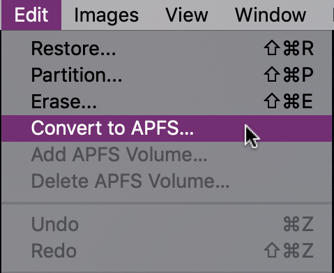mac disk utility > edit > convert to apfs