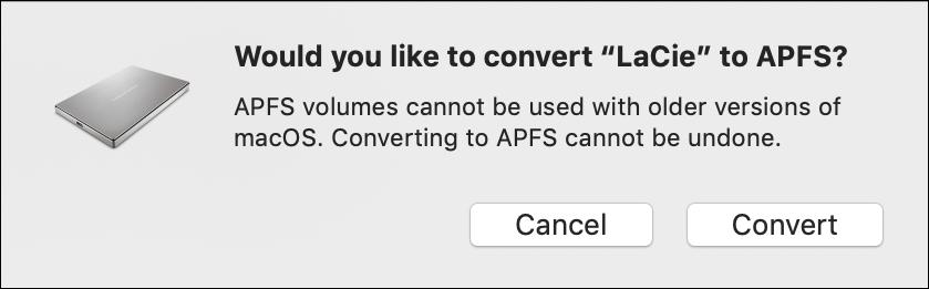 convert external hard disk drive apfs