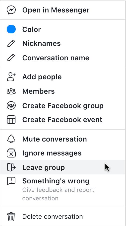 facebook messenger menu