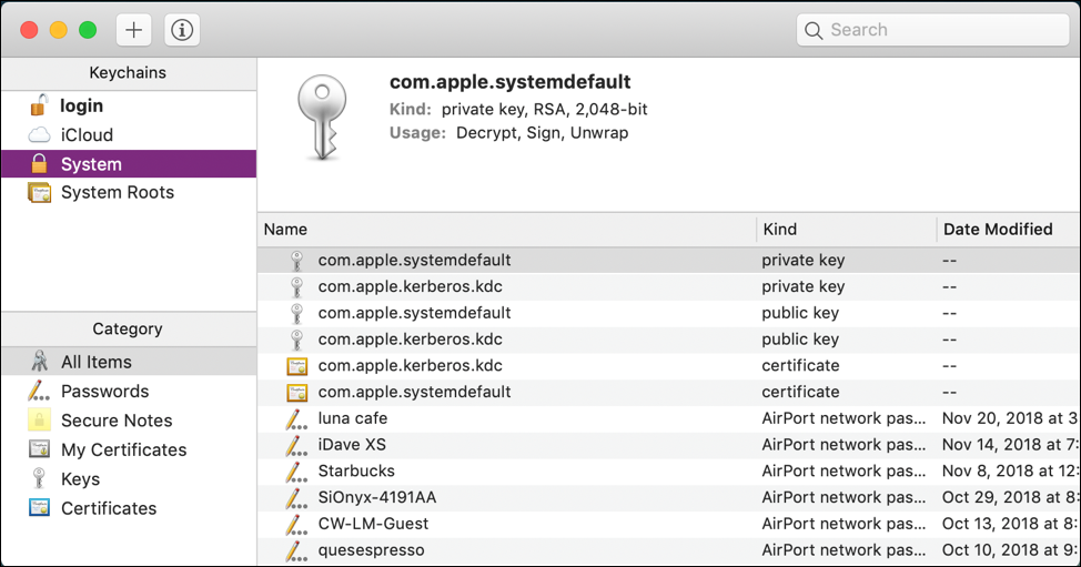 macos x - keychain access - system