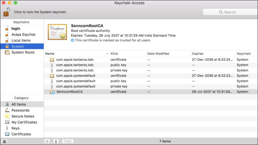 macos x keychain sennheiser root certificate senncomrootca
