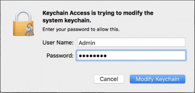mac modifying keychain prompt