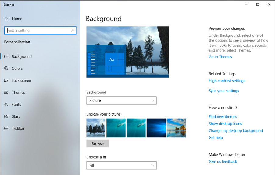 win10 background wallpaper preference window