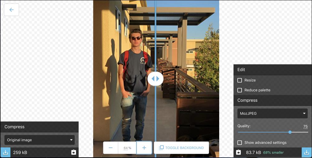squoosh analyzing shrinking compressing photo