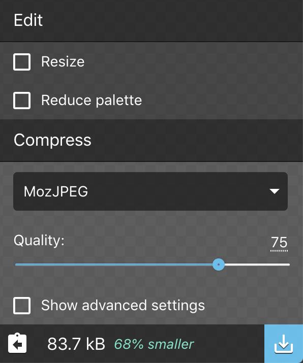 squoosh size / compress options for photo image