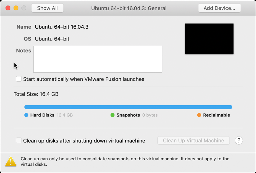 vmware fusion settings > general