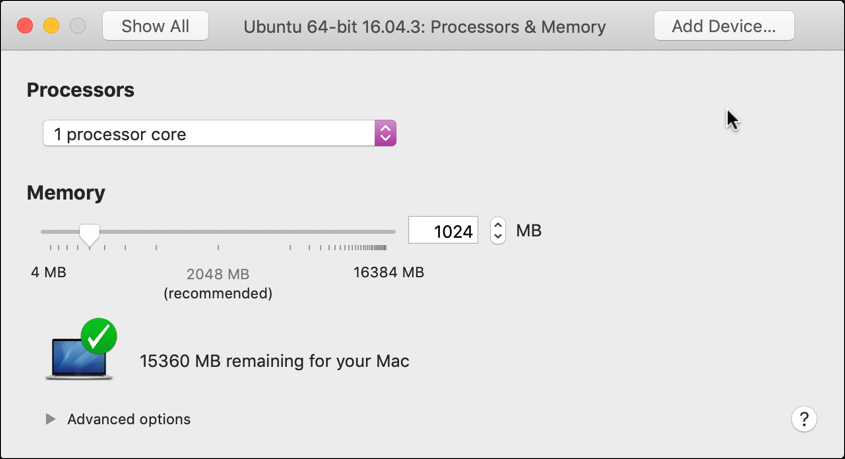 vmware fusion settings - processors and memory